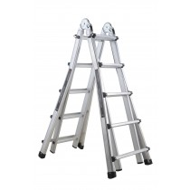 4 X 5 Rung Telescopic Step Ladder 1.4M-2.2M Ext Ladder 4.5M